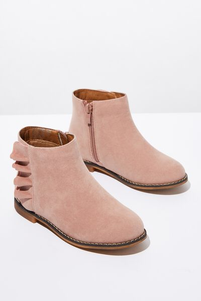 Ruffle Ankle Boot, PINK