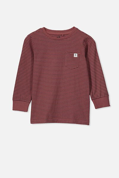 Core Long Sleeve Tee, HENNA/PHANTOM STRIPE