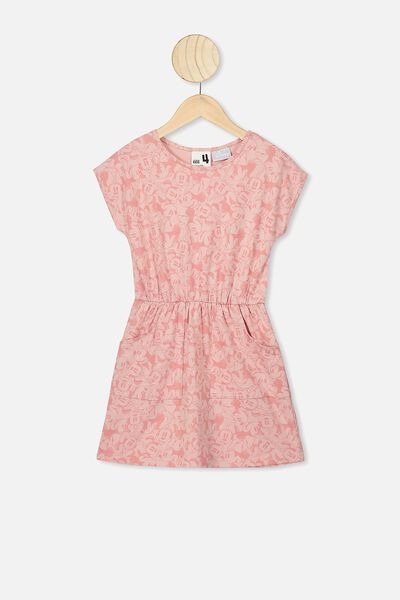 Sigrid Short Sleeve Dress, LCN DIS ZEPHYR/MINNIE HEADS