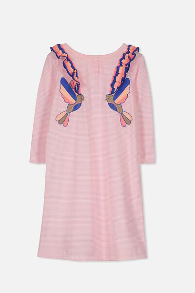 Lily Long Sleeve Longline Nightie, LOVE BIRDS