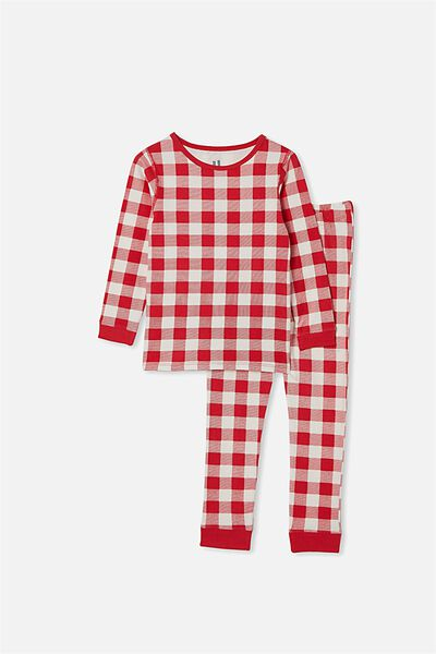 Avery Kids Unisex Long Sleeve Pyjama Set, RED GINGHAM VANILLA