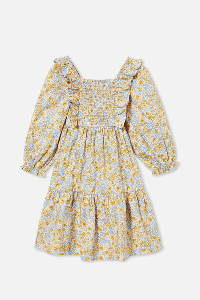 Jenna Long Sleeve Dress, HONEY GOLD VINTAGE FLORAL