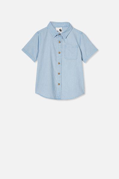 Resort Short Sleeve Shirt, LT BLUE CHAMBRAY