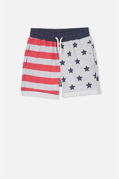 Henry Slouch Short, LT GREY MARLE STARS AND STRIPES