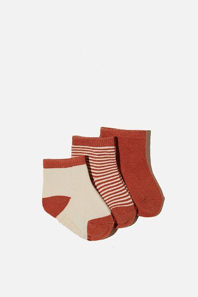 3Pk Baby Socks, CHUTNEY/DARK VANILLA STRIPE