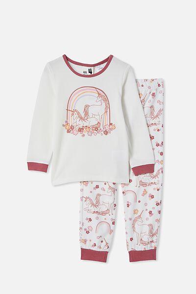 Edith Long Sleeve Pyjama Set, UNICORN FLORAL MEADOW/VANILLA