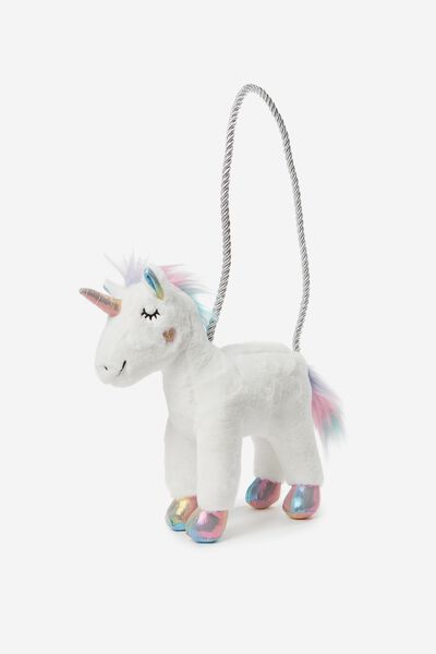 Plush Animal Bag, UNICORN/WHITE FAUX FUR