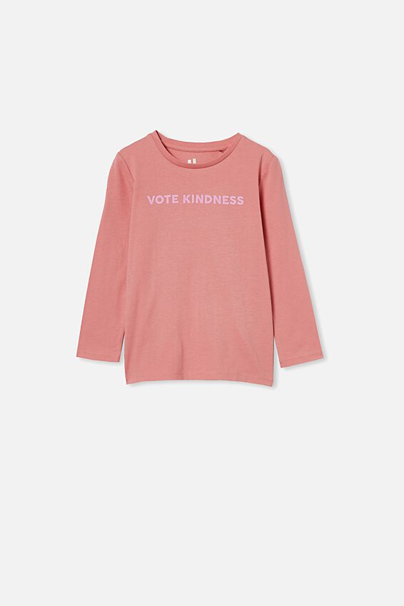 Penelope Long Sleeve Tee, EARTH CLAY/VOTE KINDNESS