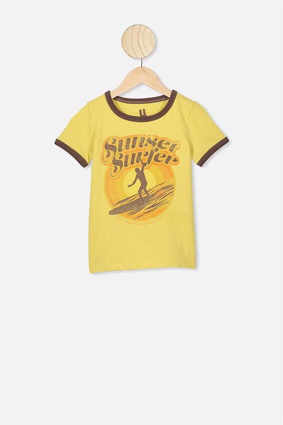 Max Short Sleeve Tee, CORN SILK/SUNSET SURFERS