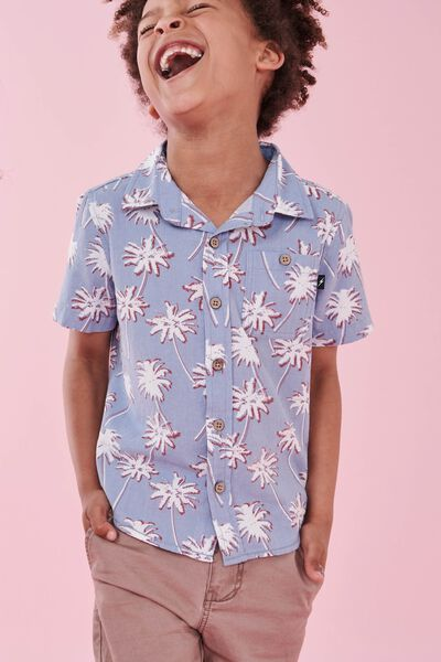 Tj Short Sleeve Shirt, BLUE PALM TREES