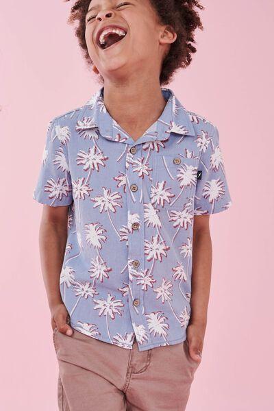 Tj Short Sleeve Shirt, BLUE PALM TREES