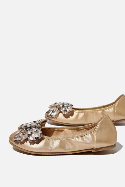 Primo Ballet Flat, METALLIC GOLD BOW