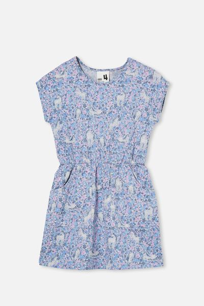 Sigrid Short Sleeve Dress, DUSK BLUE/UNICORN GARDEN