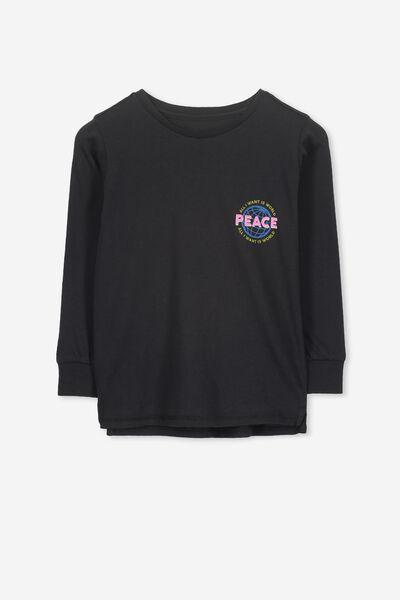Tom Long Sleeve Tee, VINTAGE BLACK/WORLD PEACE