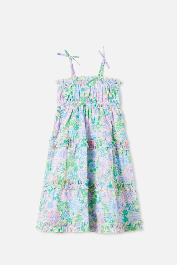 Annika Sleeveless Dress, LEMON DROP RETRO FLORAL