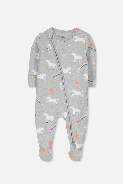 Mini Zip Through Romper, LIGHT GRY MARLE/LEAPING UNICORNS