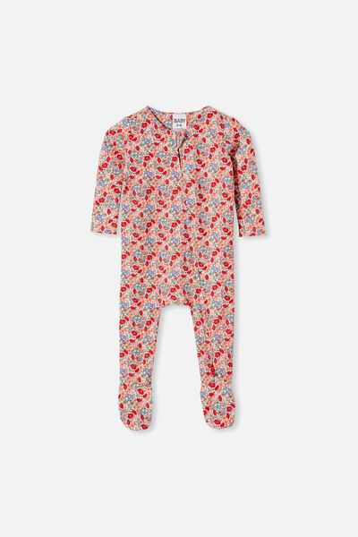 The Snug Long Sleeve Zip Romper, VANILLA/LUCKY RED JOLLY FLORAL