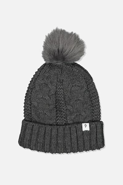 Winter Knit Beanie, CHARCOAL MARLE