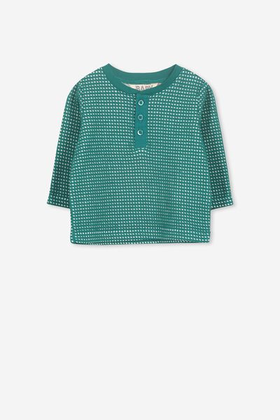 Lenny Button Long Sleeve Tee, DEEP SEA GREEN
