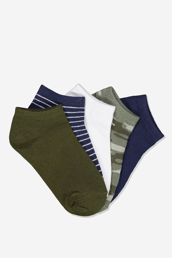 Kids 5Pk Ankle Socks, GREEN CAMO