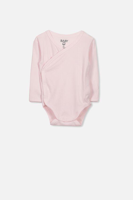 Newborn Long Sleeve Wrap Bubbysuit, ESSENTIAL PINK
