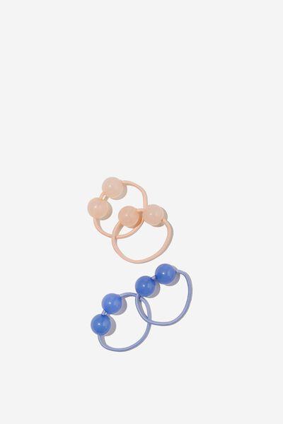 Hannah Hair Ties, PEACH TANG/DUSK BLUE BOBBLE