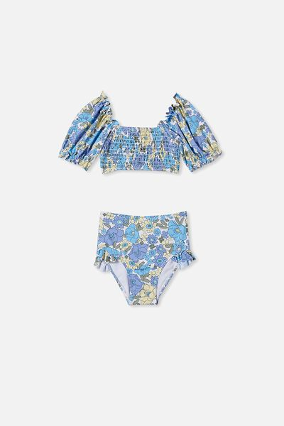 Primrose Puff Sleeve Bikini, VANILLA/BLUE RETRO FLORAL