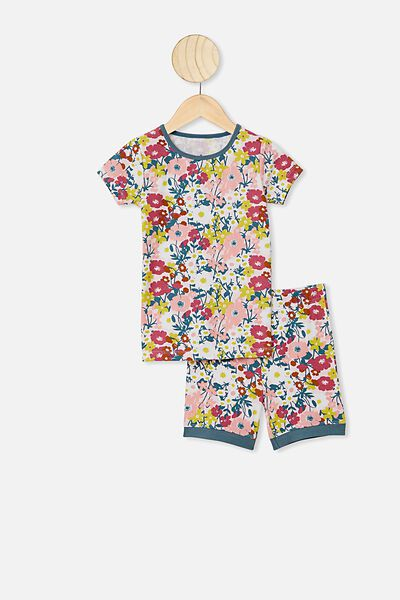 Nikki Short Sleeve Pajama Set, VANILLA/MEADOW PRINT