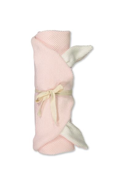 Cotton Knit Blanket, ESSENTIAL PINK/BUNNY