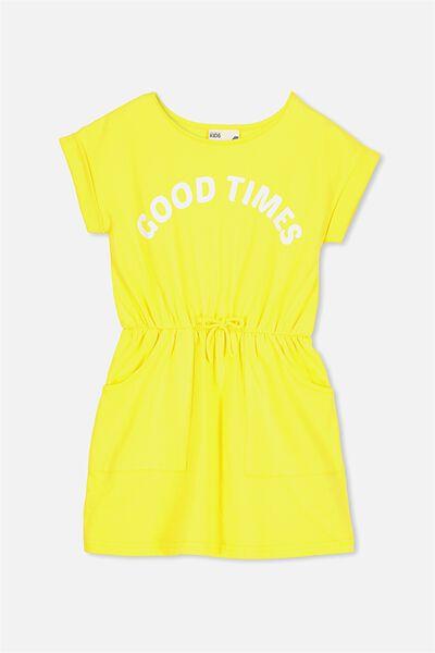 Sibella Short Sleeve Dress, LEMON ZEST/GOOD TIMES