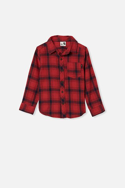 Rugged Long Sleeve Shirt, RED EARTH/NAVY PLAID CHECK