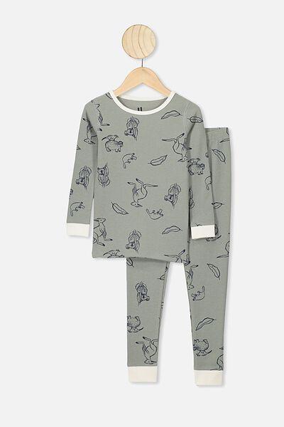 Jack Boys Long Sleeve Waffle Pyjama Set, SILVER SAGE/B AUSTRALIANA