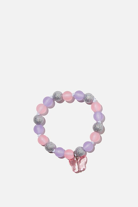 Beaded Bracelet, PURPLE/PINK BUTTERFLY