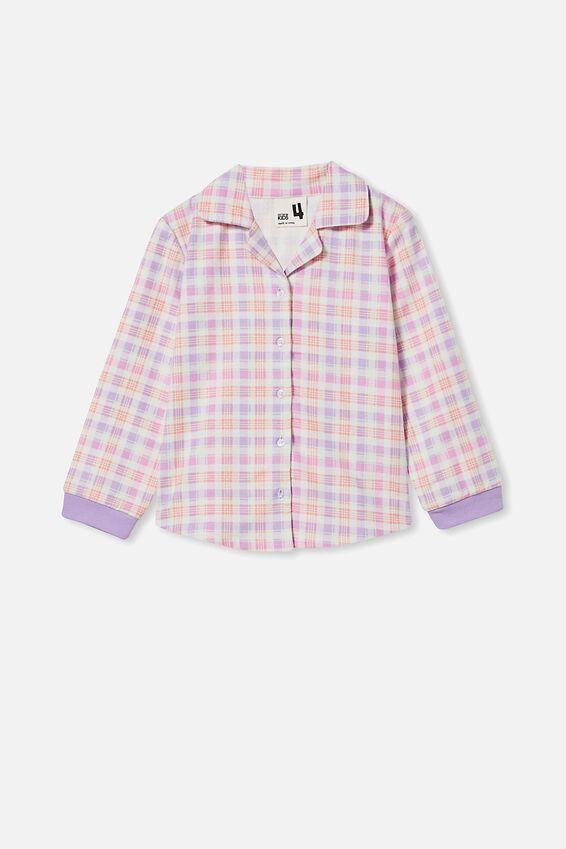 Angie Long Sleeve Pyjama Set, CHECK/SUMMER VIOLET