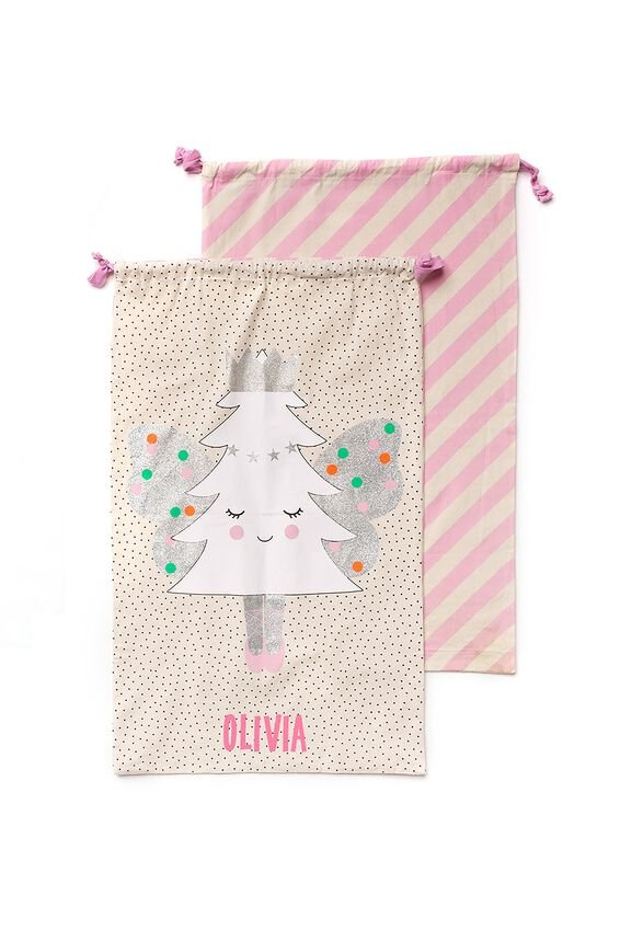 Santa Sack, WHITE FAIRY TREE PERSONALISED