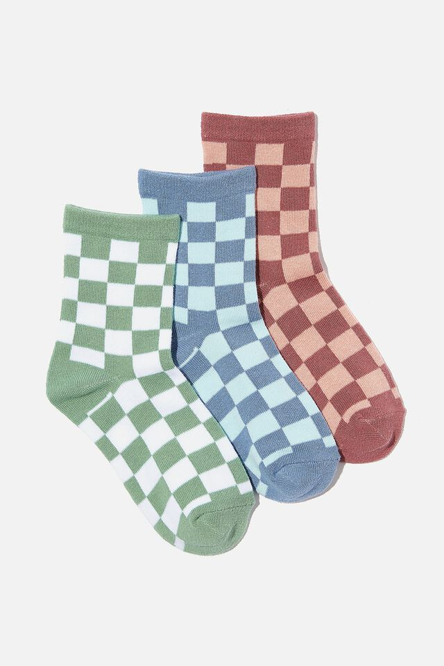 Kids 3Pk Crew Socks, CHECKER BOARD BLUE GREEN BERRY