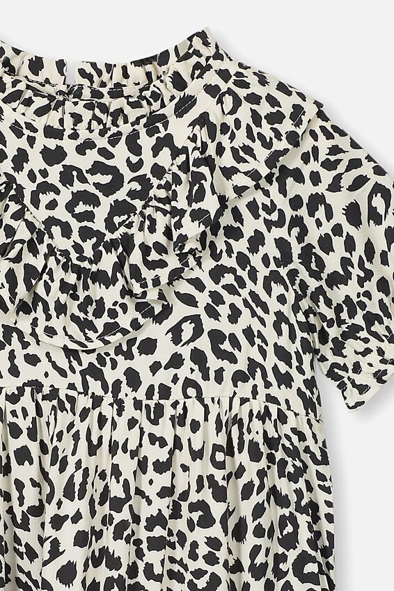Laura Short Sleeve Dress, DARK VANILLA LEOPARD