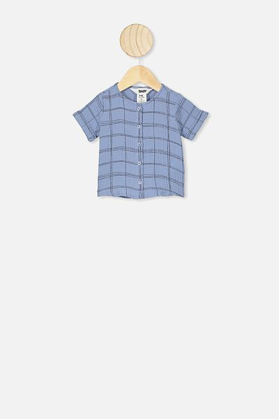 Mike Short Sleeve Shirt, POWDER PUFF BLUE/SKETCHY GRID