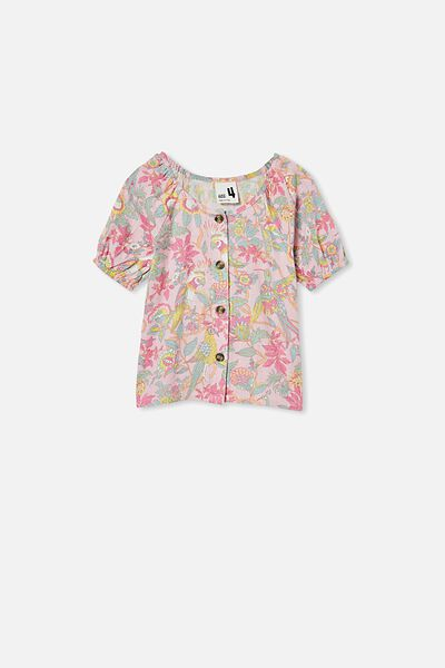 Frankie Short Sleeve Top, MARSHMALLOW/GARDEN OF BIRDS