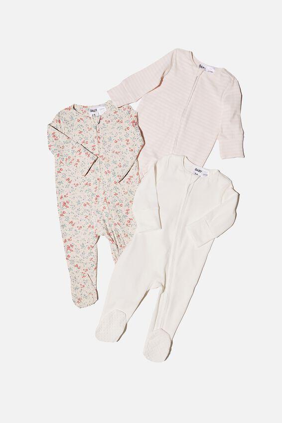3 Pack Long Sleeve Zip Romper, MAUDE FLORAL/VANILLA/CRYSTAL PINK STRIPE