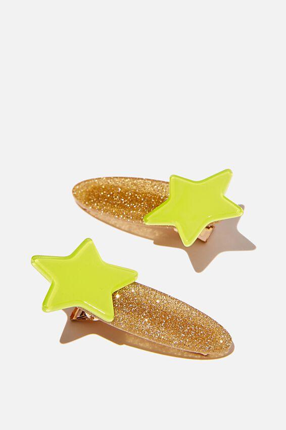 Hair Clip - Resin, GREEN STAR