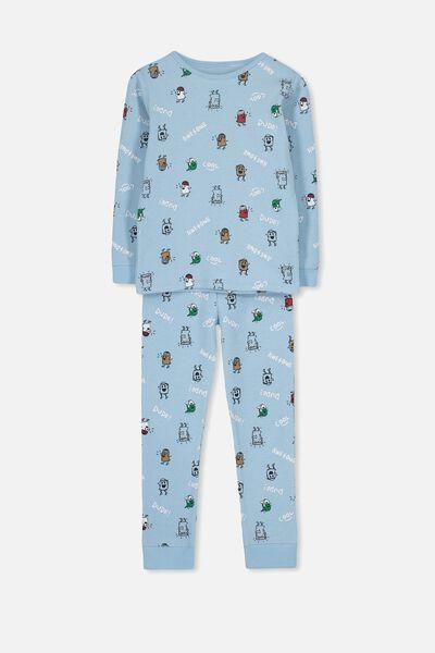 Jack Boys Long Sleeve Waffle Pyjama Set, MONSTER DUDE