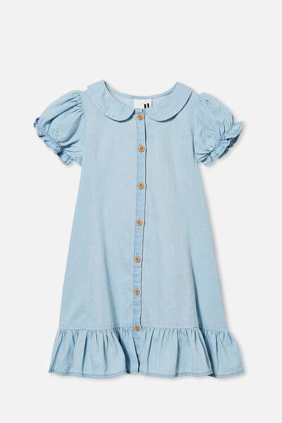 Evelyn Short Sleeve Dress, LIGHT WASH BLUE