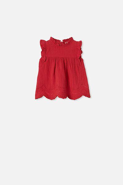 Jan Flutter Sleeve Dress, LUCKY RED