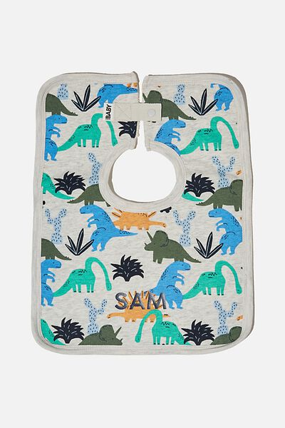 The Darcey Square Bib - Personalisation, CLOUD MARLE/DINO PARTY