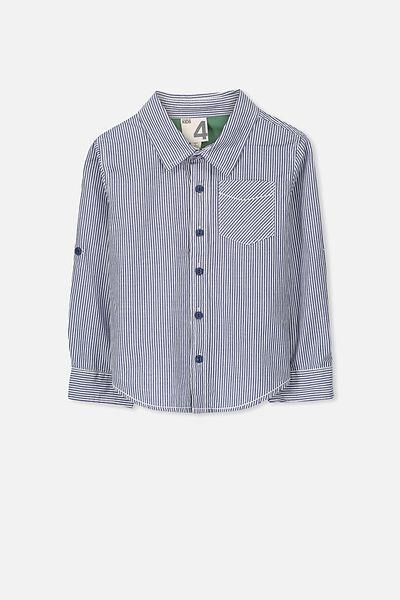 Noah Long Sleeve Shirt, EGG NOG/CAPTAIN BLUE STRIPE