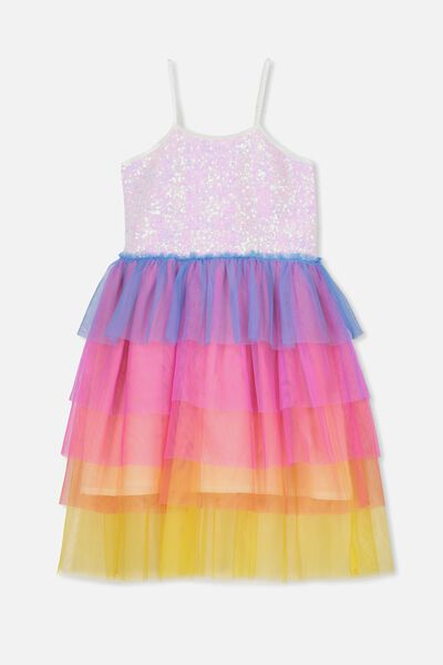 Iris Tulle Dress, SUM GREY MARLE/RAINBOW RUFFLE