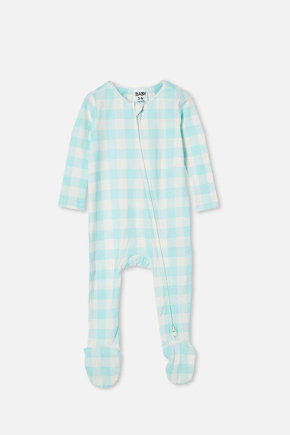 The Snug Long Sleeve Zip Romper, DREAM BLUE/VANILLA MAXI GINGHAM