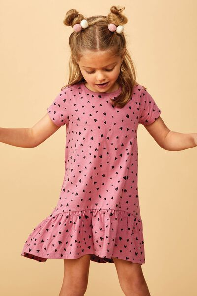 Joss Short Sleeve Dress, VERY BERRY/HEARTS