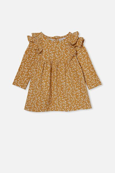 Mandy Long Sleeve Ruffle Dress, VINTAGE HONEY/VANILLA SIERRA FLORAL